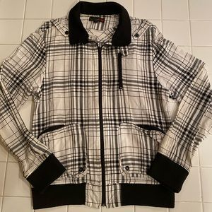 G by Guess White Black Striped Bomber Jacket